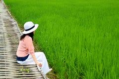 Молодое женское усаживание на бамбуковом мосте на живых зеленых рисовых полях в Таиланде стоковое фото