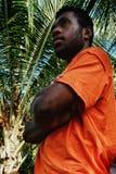 молодое положение чернокожего человека перед пальмой на тропическом рае стоковые фото