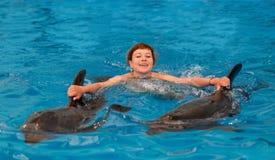 Молодое счастливое заплывание девушки с дельфином стоковая фотография