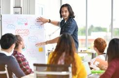 Молодой азиатский бизнесмен давая представление на планах на будущее стоковое изображение