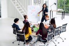 Молодой азиатский творческий человек стоя и делая представление на говорить современного офиса счастливый и коллективно обсуждать стоковое изображение