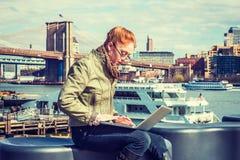 Молодой американский путешествовать коммерсантки, работая в Нью-Йорке Стоковые Фото
