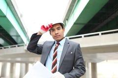 Молодой архитектор с светокопией Стоковое Изображение