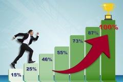 Молодой бизнесмен бежать к верхней части диаграммы стоковое фото rf