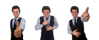 Молодой бизнесмен в смешной концепции на белизне стоковая фотография rf