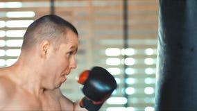 Молодой боксер работает с грушей на спортзале сток-видео