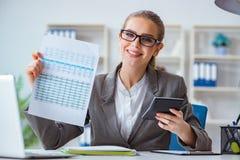 Молодой бухгалтер коммерсантки работая в офисе Стоковая Фотография RF