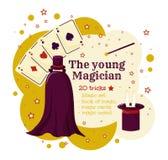 Молодой волшебник или magican Волшебный шаблон игры Установите для фокусов бесплатная иллюстрация