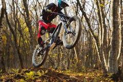 Молодой всадник за рулем его горного велосипеда делает фокус в скакать на трамплине покатой горы Стоковое фото RF