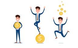 Молодой дизайн характера бизнесмена Комплект парня действуя в костюме с деньгами, различными эмоциями, представлениями и ходом, и иллюстрация штока