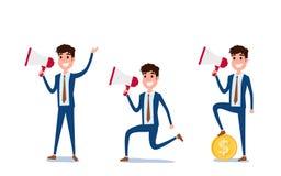Молодой дизайн характера бизнесмена Комплект парня действуя в костюме работая в офисе, различных эмоциях, представлениях и ходе,  бесплатная иллюстрация