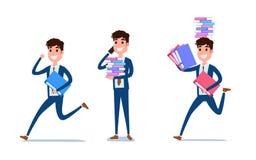 Молодой дизайн характера бизнесмена Комплект парня действуя в костюме работая в офисе, различных эмоциях, представлениях и ходе,  иллюстрация штока