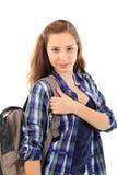 Молодой женский студент изолированный на белизне Стоковые Фотографии RF