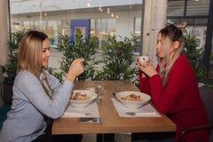 2 молодой женщины имея обед Стоковое Фото