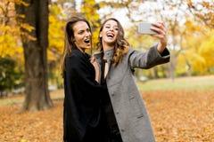 2 молодой женщины принимая selfie с мобильным телефоном в PA осени Стоковое фото RF