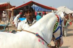 Молодой индийский цыганский номад с белой лошадью на верблюде справедливом, Индии Pushkar Стоковые Фотографии RF