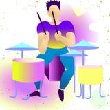 Молодой красивый барабанщик E rendy плоские рок-звезды, поп, джаз, характеры Плоский мультфильм характера иллюстрация штока