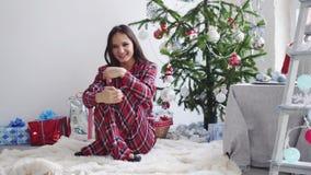 Молодой красивый радостный брюнет в пижамах сидит на половике около ели рождества в ожидании Новый Год медленно акции видеоматериалы