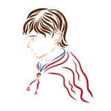 Молодой красивый человек с коричневыми волосами в красном плаще Стоковые Фото