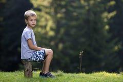 Молодой милый белокурый мальчик ребенка сидя на пне дерева на зеленой травянистой расчистке на яркий летний день стоковая фотография