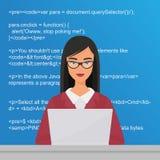 Молодой милый программист женщины сидя на настольном компьютере и работая на компьтер-книжке Кодер codding плоская иллюстрация ве бесплатная иллюстрация