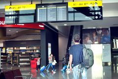 Молодой мужской путешественник с рюкзаком смотрит информацию b стоковые изображения