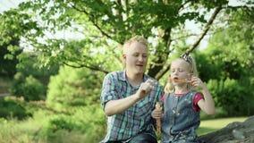 Молодой отец дует пузыри мыла и играет с его дочерью в замедленном движении вполне HD парка лета акции видеоматериалы