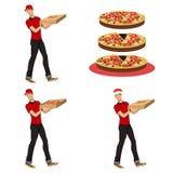 Молодой парень поставляя пиццу иллюстрация вектора
