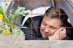 Молодой парень сидя в тюрьме смотря растущ за ржавым цветком одуванчика решетки Мечты пленника свободы от стоковые фотографии rf