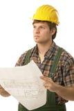 Молодой план пола удерживания строителя Стоковая Фотография