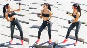 Молодой, пригонка и sporty тренировка девушки на открытом воздухе Фитнес, спорт, городской jogging и здоровая концепция образа жи стоковые фотографии rf