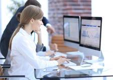 Молодой профессионал и команда дела обсуждая финансовые данные стоковое изображение