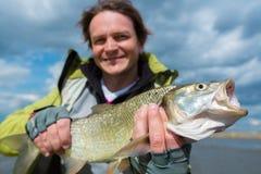 Молодой рыболов дилетанта Стоковые Фото