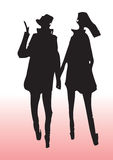 Молодой силуэт пар Стоковое Изображение RF