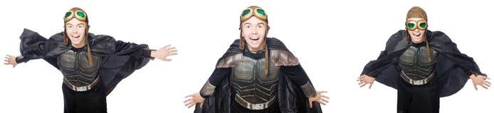 Молодой смешной человек в костюме панцыря стоковое изображение