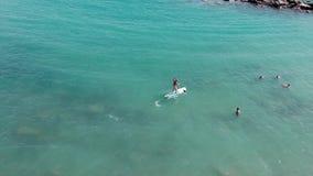 Молодой солнц-загоренный мальчик плавая на маленький глоток около плавать sportive люди Трутень снятый привлекательного человека  сток-видео