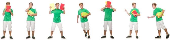 Молодой студент с примечаниями изолированными на белизне стоковое изображение rf