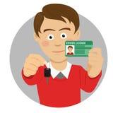 Молодой счастливый человек показывая его ключи автомобиля и водительское право иллюстрация штока