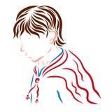 Молодой человек в красном плаще Стоковое Изображение