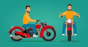 Молодой человек ехать мотоцикл Фронт и взгляд со стороны иллюстрация штока