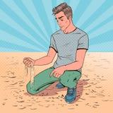Молодой человек искусства шипучки унылый сидя на пляже Разбитый сердце Гай Лицевое выражение Отрицательная взволнованность иллюстрация штока