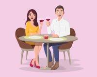 Молодой человек и женщина на романтичной дате иллюстрация вектора