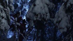 Молодой человек и женщина нося красные костюмы медленно идут в снежный лес зимы акции видеоматериалы