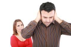 Молодой человек и женщина сердитые Стоковые Изображения RF