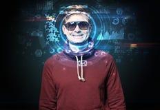 Молодой человек на темной предпосылке, концепции распознавания лиц Стоковые Фото