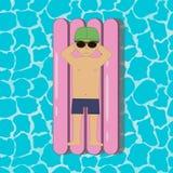 Молодой человек плавая на раздувной тюфяк заплыва в бассейне или море или океане Мальчик в солнечных очках и крышке вектор