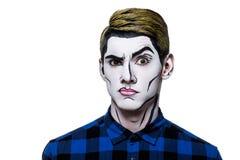 Молодой человек с боди-артом popart Стоковая Фотография RF