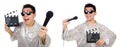 Молодой человек с микрофоном и clapperboard изолированный на белизне Стоковое Изображение RF