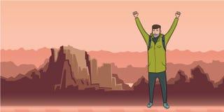 Молодой человек, backpacker с поднятыми руками в ландшафте горы Hiker, исследователь Символ успеха вектор иллюстрация штока