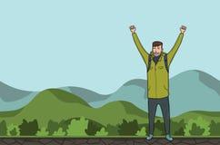Молодой человек, backpacker с поднятыми руками в холмистой области Hiker, исследователь Символ успеха также вектор иллюстрации пр бесплатная иллюстрация
